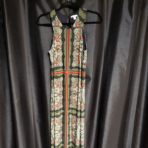 Cato small Green/Black/Red Sleeveless long dress.